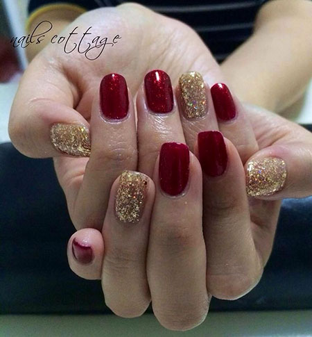 Red Gold Glitter Elegant