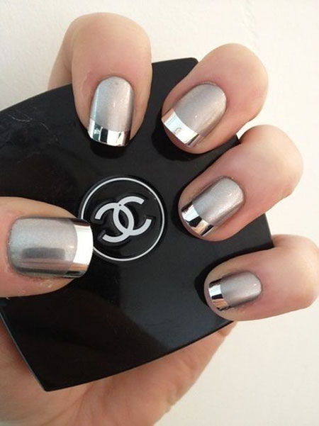 French Silver Manicure Love