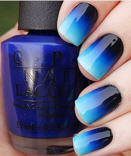 Polish Blue Ombre Cute