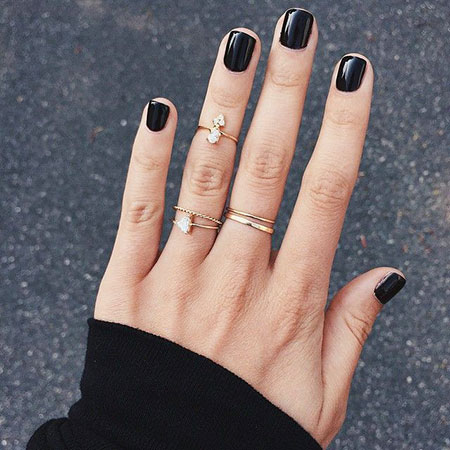 Black Manicure Knuckle Rings