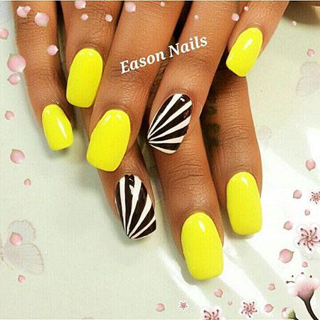 Yellow Black Bright Manicure