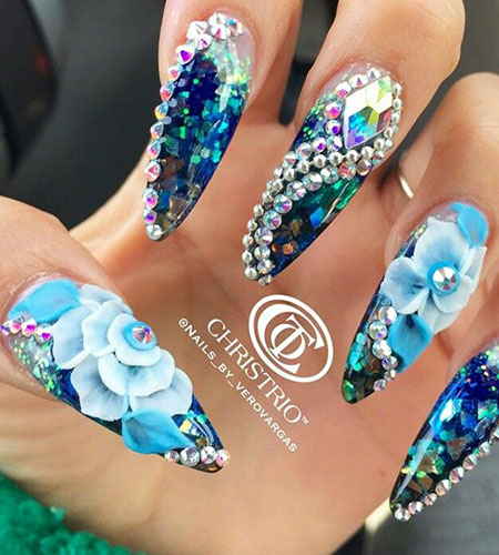 3D Rhinestone Nail Design, 3D Blue Floral Rhinestone