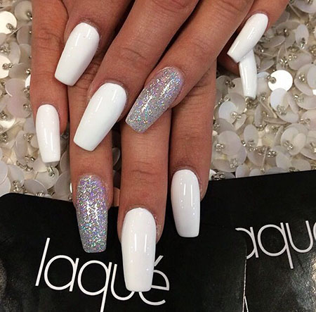 Cute Long Nails, White Silver Coffin New