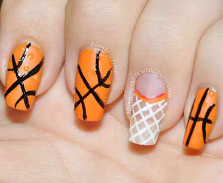 Basketball Nail Design, Halloween Orange Butterfly Easy