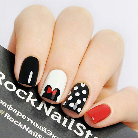 Minnie Mouse Nail Art, Disney Mouse Black Minnie