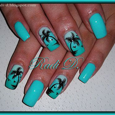Palm Tree Nail Design, 2018 Beach Manicure Galleries