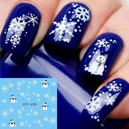 Snowflake Nail Art Design, Christmas Water Manicure Snowflake