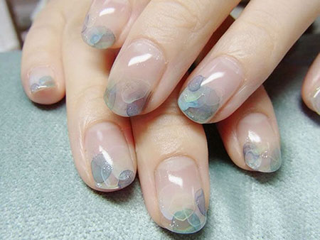 Water Nail Art, Short Beautiful Naildesign French