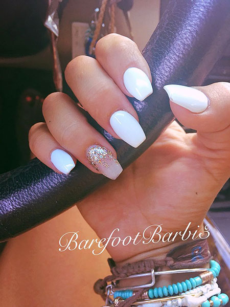 White Nail Idea, Cute Coffin White Manicure