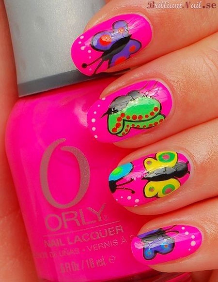 Pink Butterfly Summer Fingernail