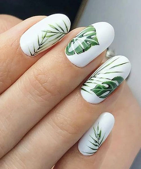 Manicure White Green Leaves