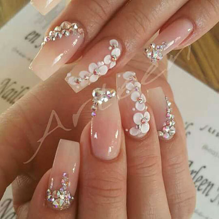 Rhinestone 3D Floral Manicure