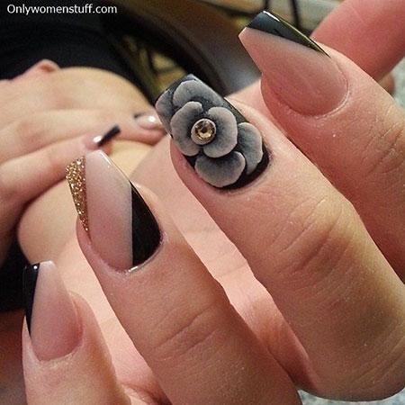 Rose Nail Art, Manicure Black Rings 3D