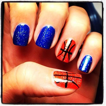 Short Easy Nails, Colors Blue Color Glitter