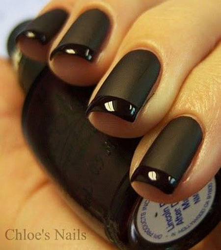 Cool Black French Manicure, Black French Matte Manicure