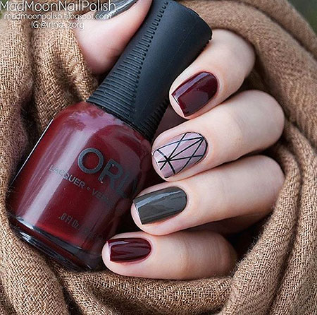 Grey and Burgundy Nail Art, Manicure Moon Perfect Winter