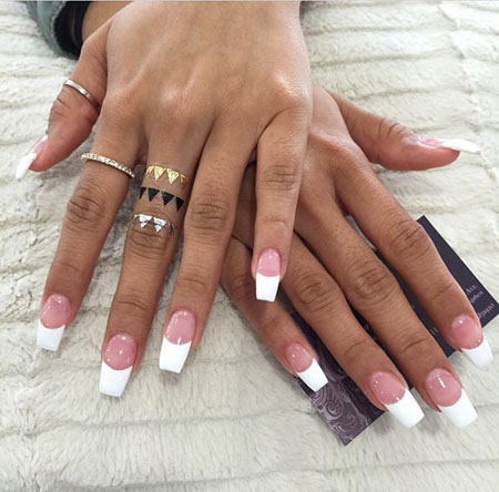 Long French Nails, French Shaped Coffin Love