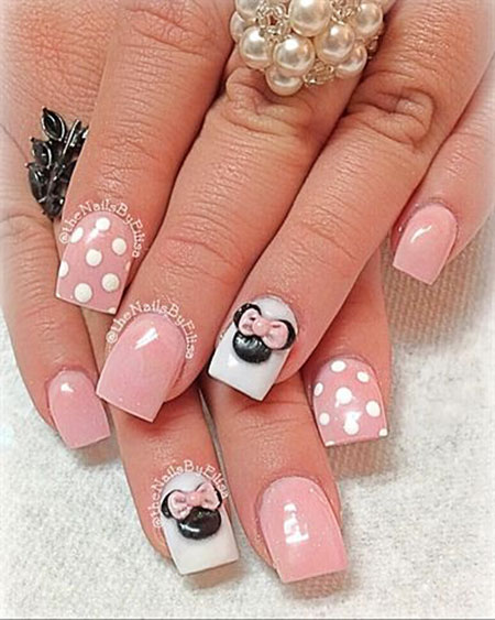 Pink Base Nail Art, Mouse Minnie Decoradas Disney