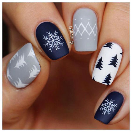 Cute Winter Nails, Christmas Manicure Winter
