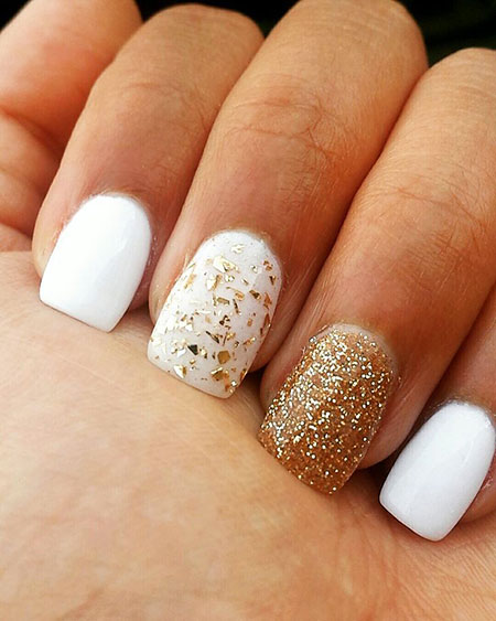 White and Gold Nail Art, Gold White Summer Black