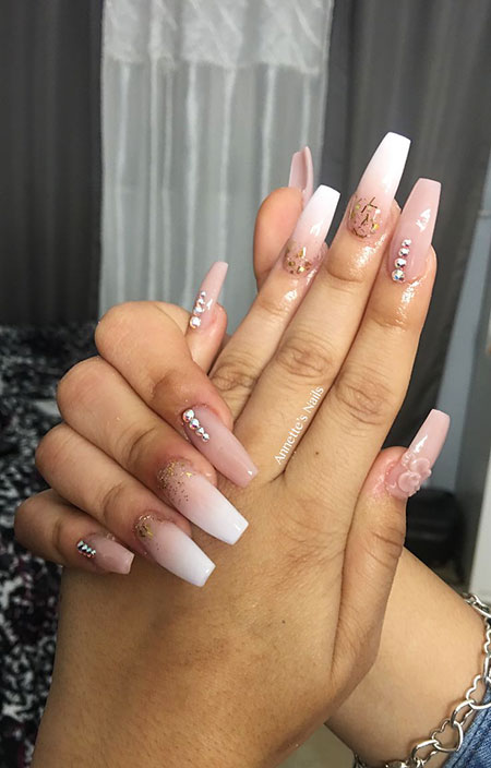 Coffin Ombre Pink White