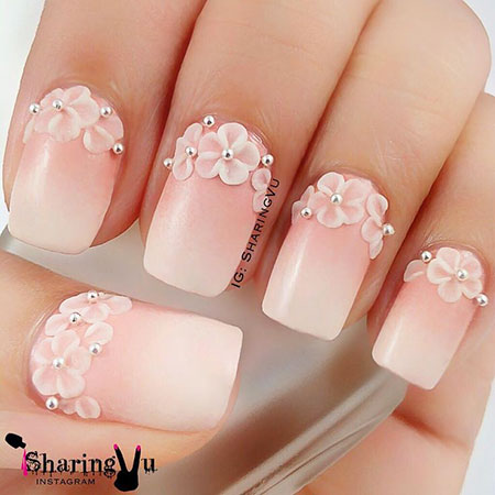 Wedding Nail Design, Flower Easy Wedding Manicure