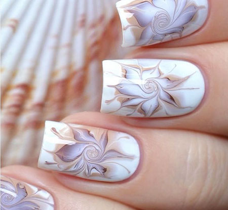 Floral Marble Nails, Best 2018 Flower