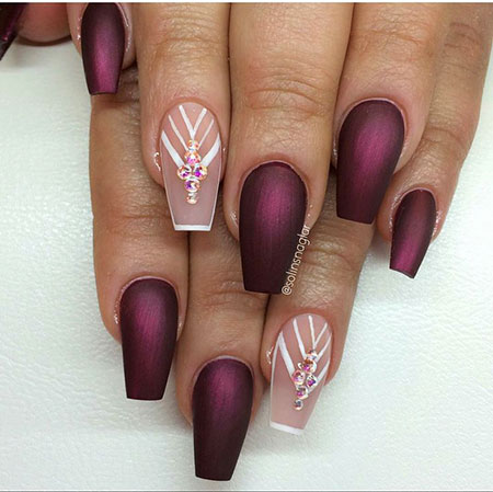 Burgundy Nail Color, Coffin Matte Shaped Natural
