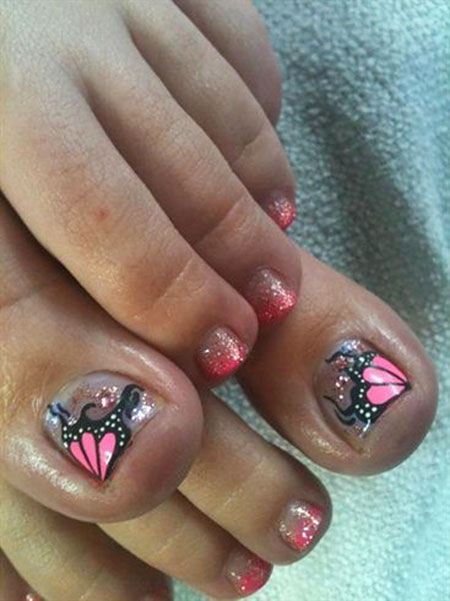 Toe Nail Art, Toe Butterfly Gallery Pedicure