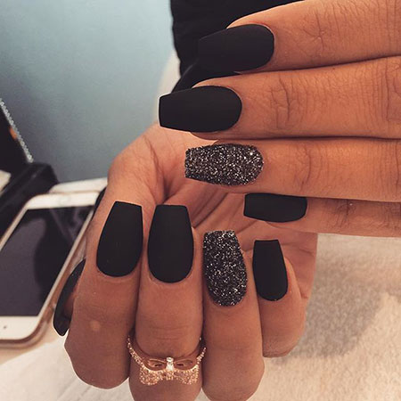 Cute Medium Black Nail Designs, Black Matte Manicure Cute