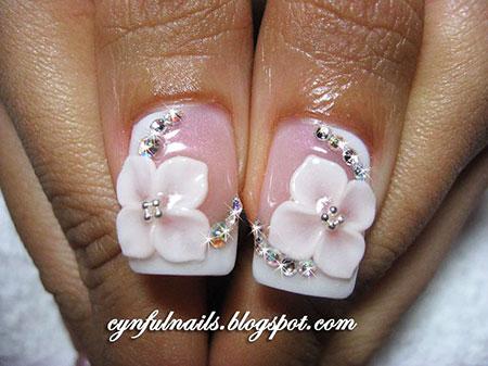 3D Floral Nails, 3D Acrylic Manicure Bridal