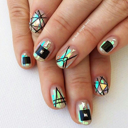 Geometric Short Nails, Geometric Manicure Tribal