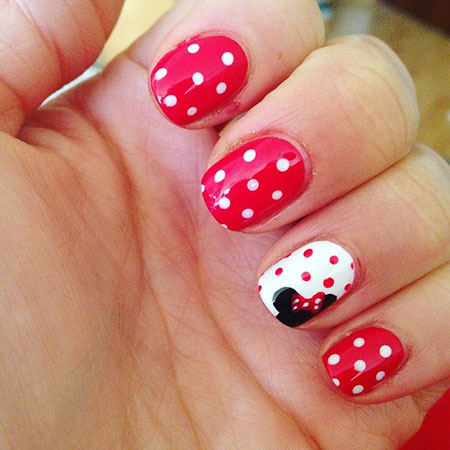 Short Cute Nail Art, Mouse Minnie Disney Dots