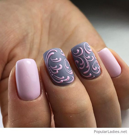 Classy Pink and Grey Nail Art, Gel Grey Pink Manicure