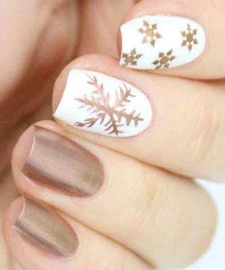 White Base Snowflake Nail Art Design, Winter Snowflake Colors Trending