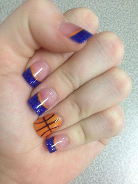 Basketball Tip Nail Style, Acrylic Blue Solar Orange
