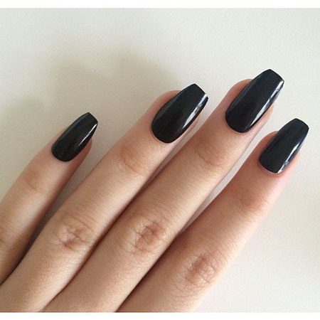 Black Long Coffin Nails, Black Coffin Acrylic Manicure