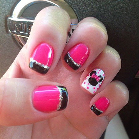 Pink and French Tip Minnie Art, Mouse Minnie Disney Manicure