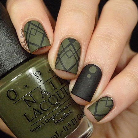 Olive Colored Nails, Polish Matte Green Lady