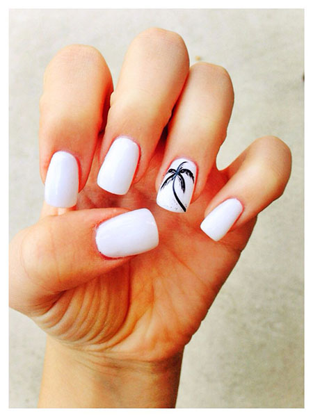 Simple Palm Tree Nail Design, Manicure Style Summer Elegant