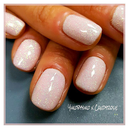 Short White Shellac Nails, Shellac Glitter Polish Effect