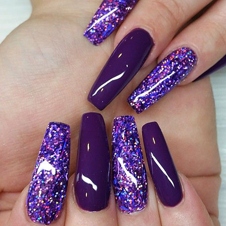 Purple Long Coffin Nails, Photo Purple Acrylic Coffin
