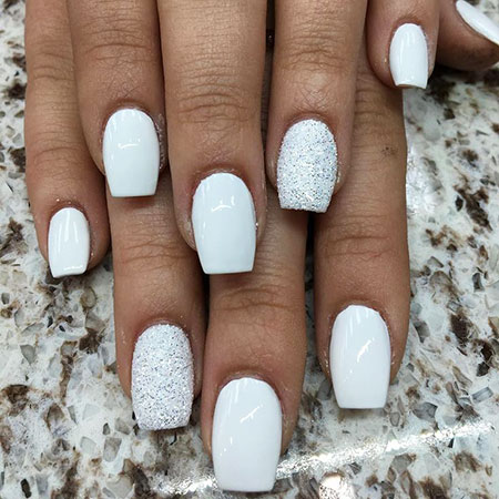 Easy Nail Design, White Bright Winter Manicure
