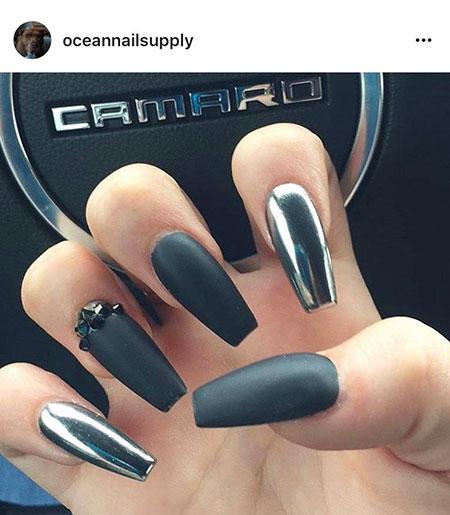Black Matte Unghie Manicure