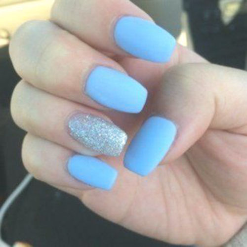 Acrylic Light Blue Nails