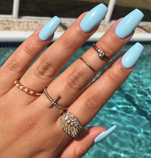 Tiffany Blue Acrylic Nails