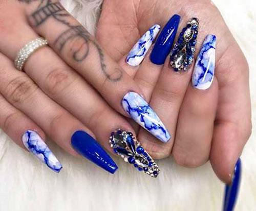 Acrylic Nails Royal Blue