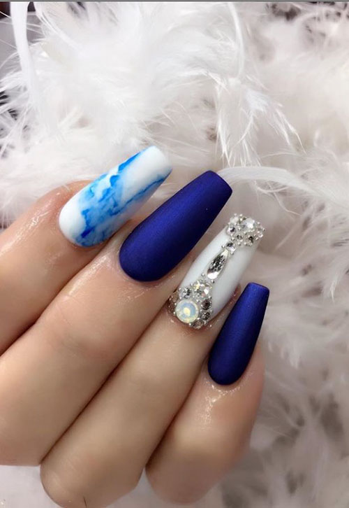 Royal Blue Nails Acrylic