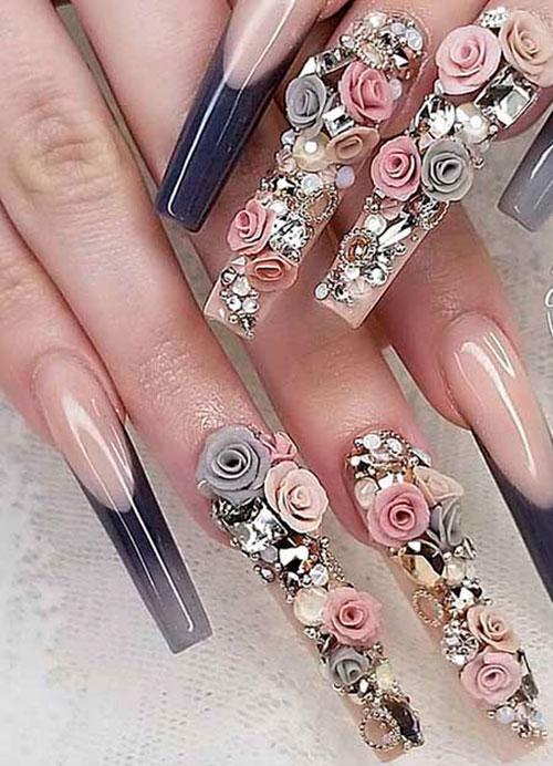 Flower 3D Nails