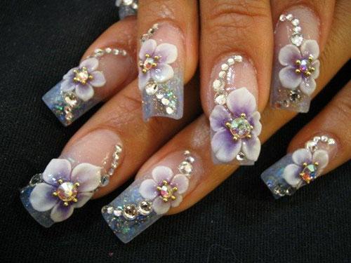 Watercolor Flower Nail Art